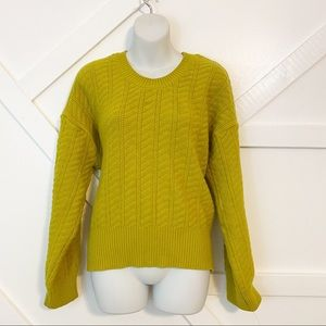Péach Chunky Ribbed Knit Sweater Green Sz L